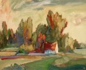 The Monarch Collection TMC-CZ-11-24X30 Farm House-24X30 Painting