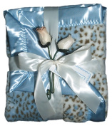 Dee Givens & Co-Raindrops 1702 Blue Faux Fur Receiving Blanket - Blue - 71.1cm . x 91.4cm .