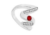 FineJewelryVault UBJ1087W14DR-101 Ruby Zig-Zag Ring : 14K White Gold - 0.50 CT TGW - Size