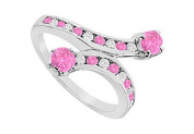 FineJewelryVault UBJ868W14DPS-101 Pink Sapphire and Diamond Ring : 14K White Gold - 1.00 CT TGW - Size