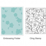 Sizzix 657856 Sizzix Textured Impressions Embossing Folder and Stamp Set-Hero Arts Flowers and Vines