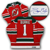 AJ Sports World BURS135000 SEAN BURKE New Jersey Devils SIGNED Retro Green & Red JERSEY