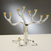Rite Lite M-TREE-T Large Tree of Life Menorah - Silver-Plate With Gold-Tone Cups
