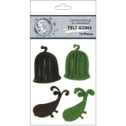 Ruby Rock-It FI30 Felt Icons 12-Pkg-Birds and Birdcages-Chocolate and Green