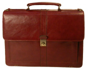 Stebco 347061CAR Stebco Structured Flapover Top Grain Leather Executive Case in Black or Caramel