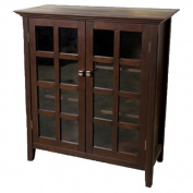 Simpli Home Acadian Solid Wood Medium Storage Cabinet, Rich Tobacco Brown