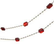 1.8m Regal Red Jewel and Gold Beaded Christmas Garland