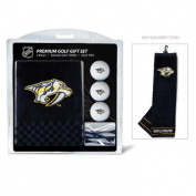 Team Golf 14520 Nashville Predators Embroidered Towel Golf Ball 12 Golf Tee Gift Set
