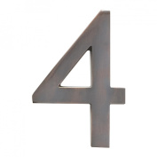 Architectural Mailboxes 3582DC Number 4 Solid Cast Brass 4 inch Floating House Number Dark Aged Copper 4