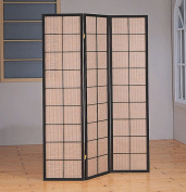 Monarch Specialties I 4628 Cappuccino 3 Panel Folding Screen With Fabric Inlay