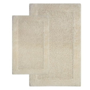 Chesapeake 38241 2 Piece Naples Bath Rug Set- 21 in. x 34 in. & 24 in. x 40 in.- Ivory color