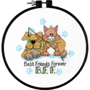 """Dimensions Learn-A-Craft """"Best Friends Forever"""" Stamped Cross Stitch Kit, 15cm"""