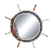 Woodland Import 78703 Ship Wheel Mirror with Highly inspiring Decorative Design