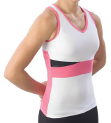 Pzazz Performance Wear 5800 -WHTHPK-AS 5800 Adult Panel Top with Keyhole - White with Pink - Adult Small