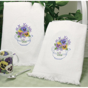 Dimensions 324335 Teapot Floral Guest Towels Stamped Embroidery-16 in. x 26 in.