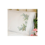 """Dimensions """"Butterflies and Fern"""" Pillowcase Pair Stamped Cross Stitch, 50cm x 80cm"""