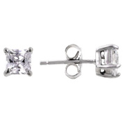J Goodin E00237RS-S01 White Gold Rhodium Bonded to .925 Sterling Silver 5mm Princess Cut CZ Stud Earrings- 1 ct Total in Silvertone