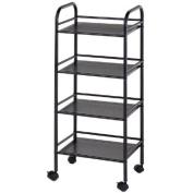 Blue Hills Studio SH4BK 4-Shelf Storage Cart - Black