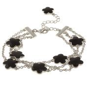 Zirconmania 610B-2568-BK-R Silvertone Black Enamel Three Strand Bracelet