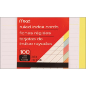 Meadwestvaco 468113 Index Cards 7.6cm . x 13cm . 100-Pkg-Ruled Assorted Colours