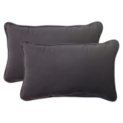 Pillow Perfect 501406 Outdoor Fresco Corded Rectangular Throw Pillow in Black - Set of 2 - Black