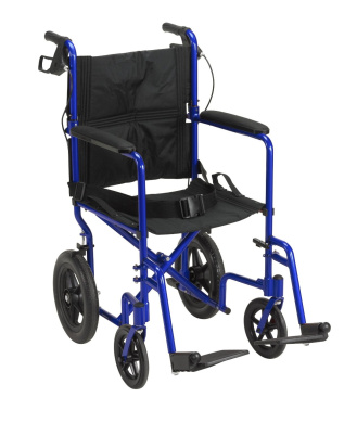 Drive Medical exp19ltrd Lightweight Expedition Transport Wheelchair with Hand Brakes