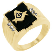 J Goodin R06239G-V01-14 14k Gold Bonded Ring with Masonic Symbol and Sapphire and Onyx Accents with Round Cut Clear CZ Accents on the Side in Goldtone- Size 14