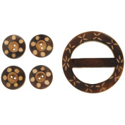 Vision Trims 93320 Handmade Wood Buckle& Buttons-Carved Circles 5-Pkg