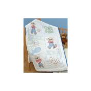 Jack Dempsey 302386 Stamped White Quilt Crib Top 100cm . x 150cm . -Little Boys