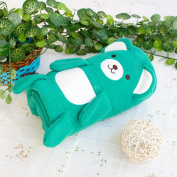 Blancho Bedding TB-BLK015-GREEN-42.5by59.1 Happy Bear - Green Embroidered Applique Coral Fleece Baby Throw Blanket