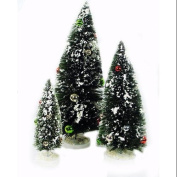 Miniature Christmas Tree Flocked Set of 3 With Ball Ornaments