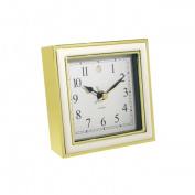 Natico 10-45888W ALARM CLOCK, WHITE ENAMEL-GOLD