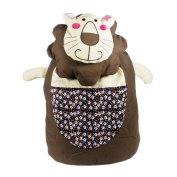 Blancho Bedding K138-COFFEE Smile Lion Fabric Art School Backpack / Outdoor Backpack
