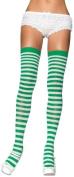 Stockings Thi Hi Striped Wt/Gr