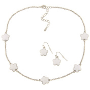 Zirconmania 610S-255WT-16R Silvertone White Enamel Daisy Necklace and Earring Set -16 inches