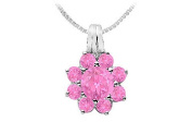 FineJewelryVault UBPD530W14PS-101 Pink Sapphire Flower Pendant : 14K White Gold - 2.75 CT TGW