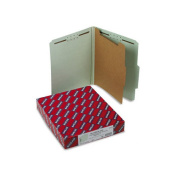 Smead 13776 Pressboard Classification Folders with Tab Ltr 4-Section GY-Green 10/box