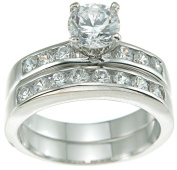 Plutus kkr6100a 925 Sterling Silver Rhodium Finish CZ Brilliant Solitaire Engagement Ring Size 6