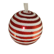 12.7cm Peppermint Twist Red & White Candy Cane Stripe Sequin Christmas Ball Ornament