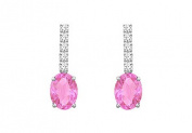 FineJewelryVault UBER911DPSW-101 Diamond and Pink Sapphire Earrings : 14K White Gold - 1.25 CT TGW