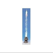 34cm Icy Crystal Blue LED Icicle Candle with Botanical Silver Base