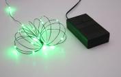 B/O Multi Function Ultra Slim Wire Christmas Light Set - 24 Green LED Lights