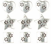 Cousin 479881 Jewellery Basics Metal Charms 9-Pkg-Silver Heart-Star-Square