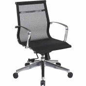 Office Star Mid-Back Mesh Screen Office Chair, Black