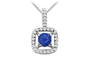 FineJewelryVault UBPD395W14DS-101 Sapphire and Diamond Pendant : 14K White Gold - 2.50 CT TGW