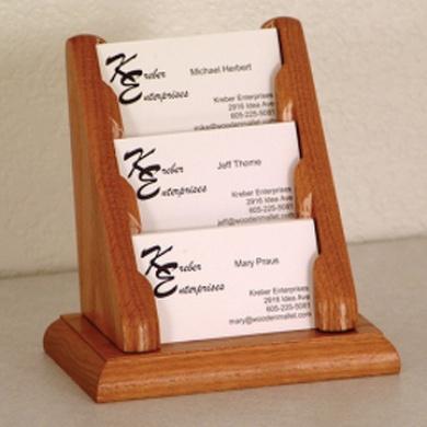 Wooden Mallet BCC1-3MO 3 Pocket Countertop Business Card Holder in Medium Oak