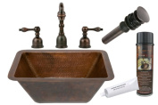 Premier Copper Products BSP2_LRECDB Rectangle Hammered Copper Sink with Widespread Faucet, Oil Rubbed Bronze