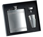 Aeropen International GFC-1808 240ml Chequered Pattern Border Shiny Stainless Steel Flask with Shooters and Funnel in Black Gift Box
