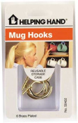 Helping Hands 6 Count Brass Plated Mug Hooks 50402 - Pack of 3