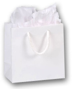 Bags & Bows by Deluxe 244M-060306-9M 6 1/2x3 1/2x6 1/2 White Matte Laminated Euro-Shoppers - Case of 200